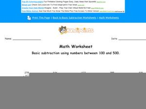 Subtract Three-Digit Numbers Worksheet