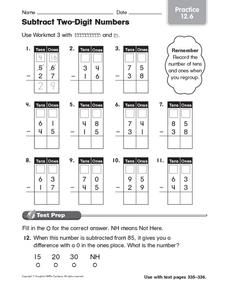Subtract Two-Digit Numbers: Practice Worksheet