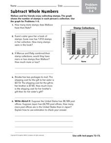 Subtract Whole Numbers: Problem Solving Worksheet