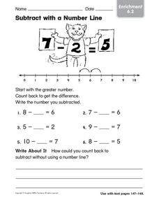 Subtract with a Number Line Enrichment 6.2 Worksheet