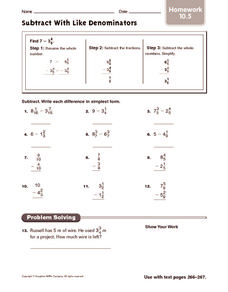 Subtract With Like Denominators Worksheet