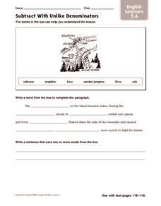 Subtract with Unlike Denominators: English Learners Worksheet