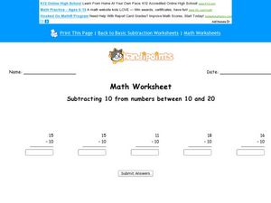 Subtracting 10 From Numbers Between 10-20 Worksheet