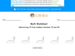 Subtracting 10 from Numbers Between 10 and 20 Worksheet
