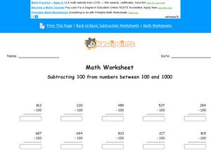 Subtracting 100 From Numbers Between 100 and 1000 Worksheet