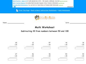Subtracting 20 From Numbers Between 50-100 Worksheet