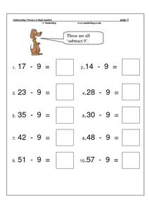 Subtracting 9 From a 2 Digit Number Worksheet