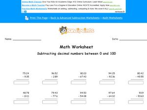 Subtracting Decimal Numbers Between 0 and 100 Worksheet
