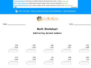 Subtracting Decimals to the Hundredths Place Worksheet