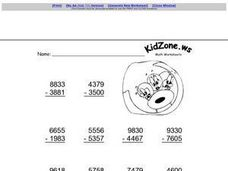 Subtracting Four-Digit Numbers Worksheet