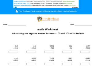 Subtracting One Negative Number Between -100 and 100 With Decimals Worksheet