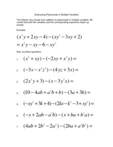 Subtracting Polynomials in Multiple Variables Lesson Plan