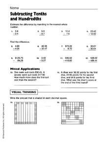 Subtracting Tenths and Hundredths Worksheet