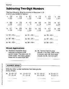 Subtracting Two-Digit Numbers Worksheet