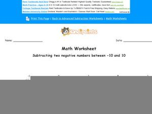 Subtracting Two Negative Numbers Between -10 and 10: Part 10 Worksheet