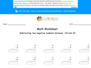 Subtracting Two Negative Numbers Between -10 and 10 Worksheet