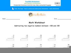 Subtracting Two Negative Numbers Between -100 and 100: Part 10 Worksheet