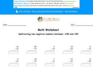 Subtracting Two Negative Numbers Between -100 and 100 Sheet C Worksheet