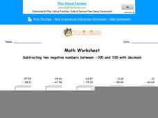 Subtracting Two Negative Numbers Between -100 and 100 with Decimals: Part 1 Worksheet