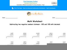 Subtracting Two Negative Numbers Between -100 and 100 with Decimals: Part 4 Worksheet