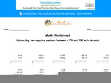 Subtracting Two Negative Numbers Between -100 and 100 with Decimals: Part 7 Worksheet