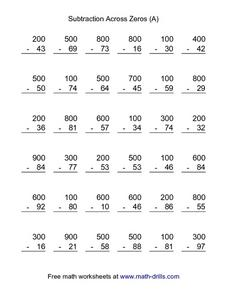 Subtraction Across Zeros (A) 3rd - 4th Grade Worksheet | Lesson Planet