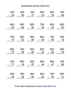 Subtraction Across Zeros (C) Worksheet