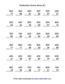 Subtraction Across Zeros (E) Worksheet