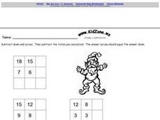 Subtraction Boxes Worksheet