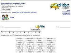 Subtraction Fact Word Search 5 Worksheet