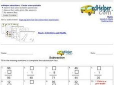Subtraction: Fill in the Blank Worksheet