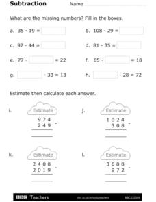 Subtraction - Find the Missing Numbers Worksheet