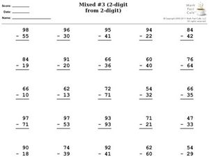 Subtraction: Mixed #3 (2-digit from 2-digit) Worksheet