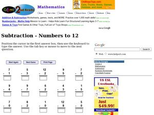 Subtraction - Numbers to 12 Worksheet