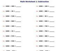 Subtraction Of a One Digit Number From a Two Digit Number Worksheet