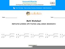 Subtraction Problems with Fractions Using Common Denominators: Part 6 Worksheet