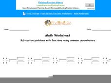 Subtraction Problems with Fractions Using Common Denominators: Part 7 Worksheet