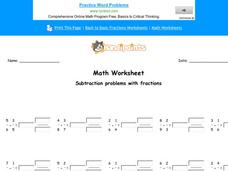 Subtraction Problems With Fractions Worksheet