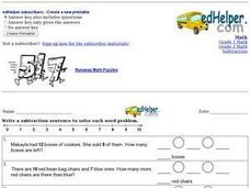 Subtraction Sentences Worksheet
