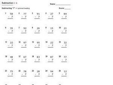 Subtraction: Subtracting 7 Worksheet