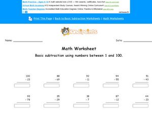 Subtraction Using Numbers 1-100 Worksheet