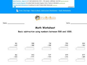 Subtraction Using Numbers 500-1000 Worksheet