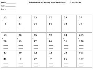 Subtraction with Carry Over Worksheet Worksheet