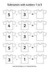 Subtraction with Numbers 1 to 5 Worksheet