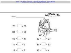 Subtraction With Zeroes Worksheet