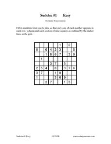 Sudoku #1 - Easy Worksheet