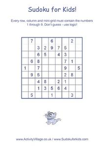 Sudoku for Kids Worksheet