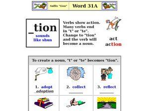 "Suffix ""-tion"" Worksheet"