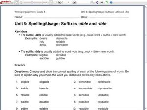 Suffixes -able and -ible 6th - 8th Grade Worksheet | Lesson Planet