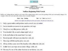 Suffixes Beginning With Vowels Worksheet